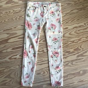 Free People Floral Crop Jean